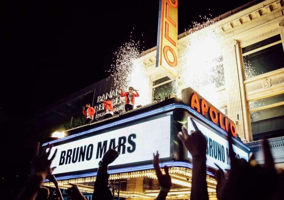 "Bruno Mars performed on top of the Apollo Theater marquee in New York while taping a segment of ""Bruno Mars: 24K Magic Live at the Apollo."" Photo: HONS / ©2017 CBS Broadcasting, Inc. All Rights Reserved"