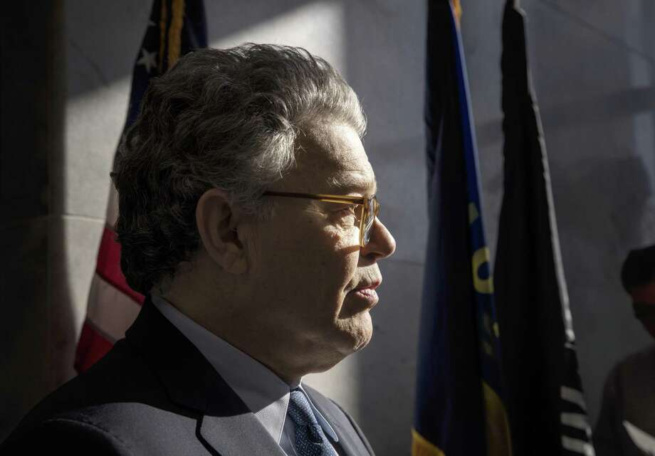 Sen. Al Franken, D-Minn., talks to the media on Capitol Hill in Washington, Monday, Nov. 27, 2017. Up to 85 percent of women have experienced sexual harassment in the workplace and many men as well according to a report released in 2016 by the Equal Employment Opportunity Commission. Photo: J. Scott Applewhite /Associated Press / Copyright 2017 The Associated Press. All rights reserved.