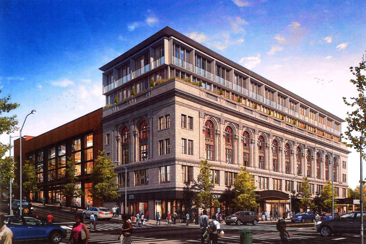 An rendering of the proposed renovations of the Poli Palace and Majestic Theaters, in Bridgpeort, Conn.