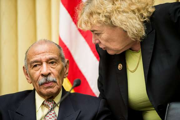 "UNITED STATES - FEBRUARY 25: Rep. John Conyers, D-Mich., and Rep. Zoe Lofgren, D-Calif., speak during the House Judiciary Committee hearing on ""The Unconstitutionality of Obama's Executive Actions on Immigration"" on Wednesday, Feb. 25, 2015. (Photo By Bill Clark/CQ Roll Call)"