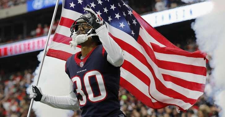 HOUSTON, TX - NOVEMBER 05: Kevin Johnson #30 of the Houston Texans takes the field before the game against the Indianapolis Colts at NRG Stadium on November 5, 2017 in Houston, Texas. (Photo by Tim Warner/Getty Images)