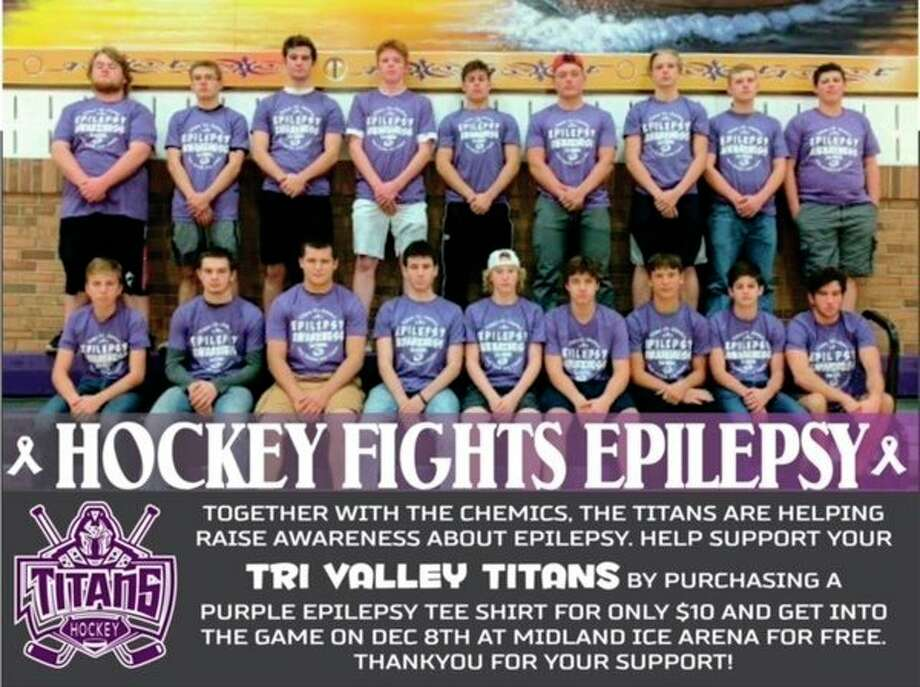 Members of the Tri-Valley Titans hockey team will join forces with their Dec. 8 opponent, the Midland High Chemics, to raise epilepsy awareness and to raise funds for a cure.