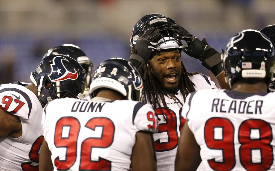 Houston Texans outside linebacker Jadeveon Clowney (90) during warm ups before an NFL football game at M & T Bank Stadium on Monday, Nov. 27, 2017, in Baltimore. ( Brett Coomer / Houston Chronicle ) Photo: Brett Coomer/Houston Chronicle
