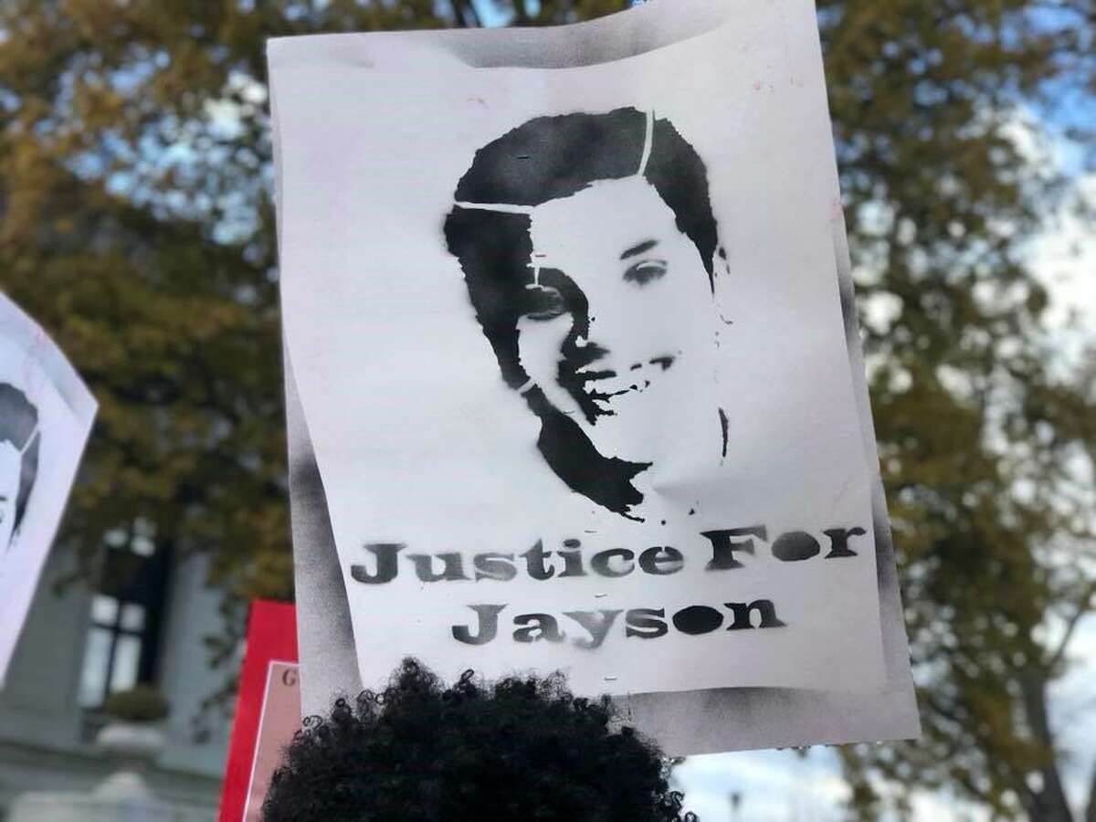 Community members and advocates for Racial Justice and Police Accountability from across the state gathered near the State Capitol in Hartford, Conn. on Monday, November 27, 2017. The rally was held to bring attention to the killing of 15 year-old Jayson Negron by the Bridgeport Police Department and to call on State?'s Attorney Maureen Platt to release the video evidence in the case and charge Officer James Boulay, who fatally shot Negron, with murder.