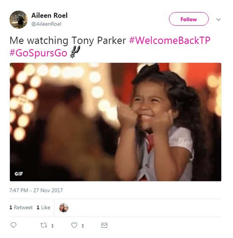 Me watching Tony Parker #WelcomeBackTP #GoSpursGo