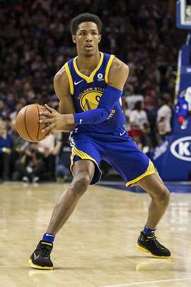 Golden State Warriors' Patrick McCaw in action during the first half of an NBA basketball game against the Philadelphia 76ers, Saturday, Nov. 18, 2017, in Philadelphia. The Warriors won 124-116. (AP Photo/Chris Szagola)