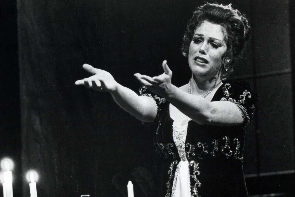 """Carol Neblett, a fiery-voiced soprano, performing in the title role of """"Tosca."""" She appeared in Metropolitan Opera productions for more than a decade."""