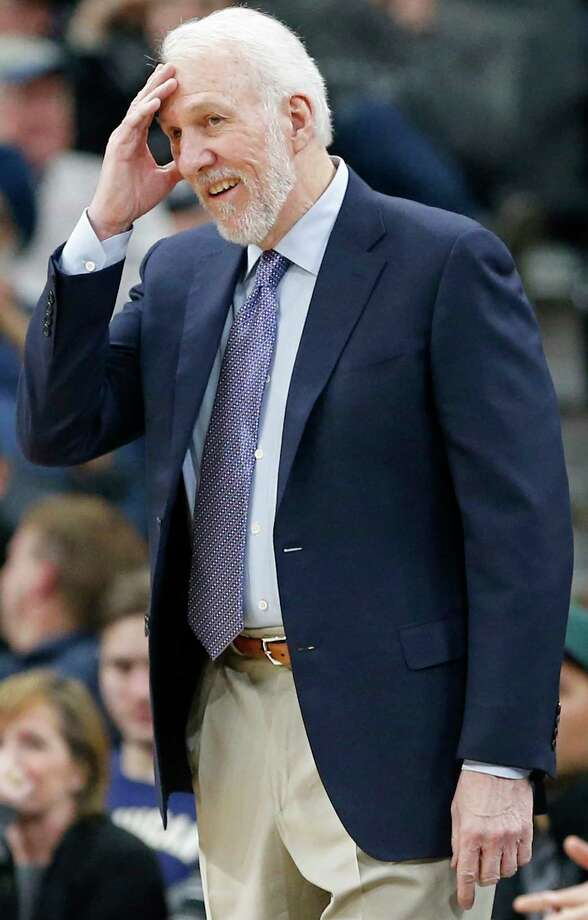 San Antonio Spurs head coach Gregg Popovich reacts after a play during first half action against the Utah Jazz Saturday Feb. 3, 2018 at the AT&T Center. Photo: Edward A. Ornelas, San Antonio Express-News / © 2018 San Antonio Express-News