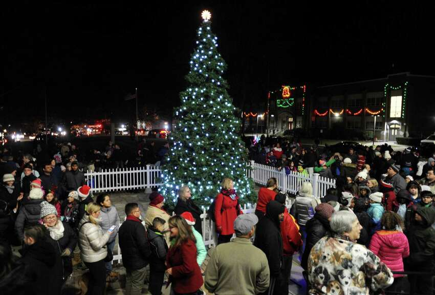 Hundreds gather in front of Town Hall for the Town of Stratford's Holiday Lighting Festival in Stratford, Conn. on Monday, November 27, 2017.