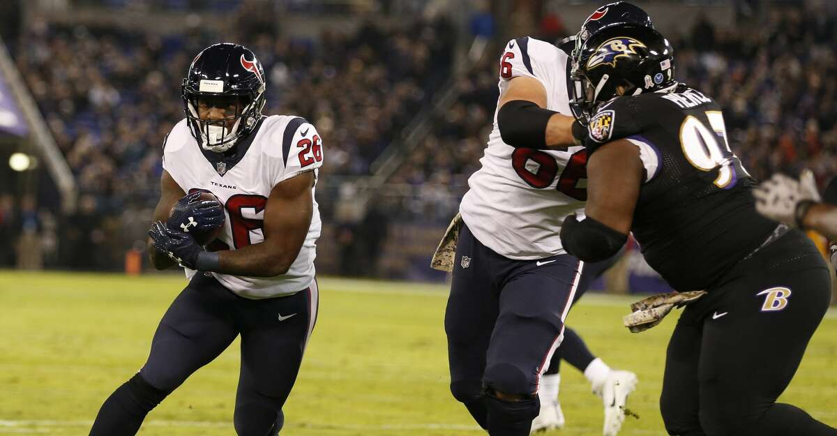 JOHN McCLAIN GRADES THE TEXANS Running backLamar Miller played hurt, and Alfred Blue came off the bench, but the running game couldn't capitalize on a Ravens defense that entered the game ranked 26th against the run. They totaled 66 yards, 51 by Miller.Grade: D