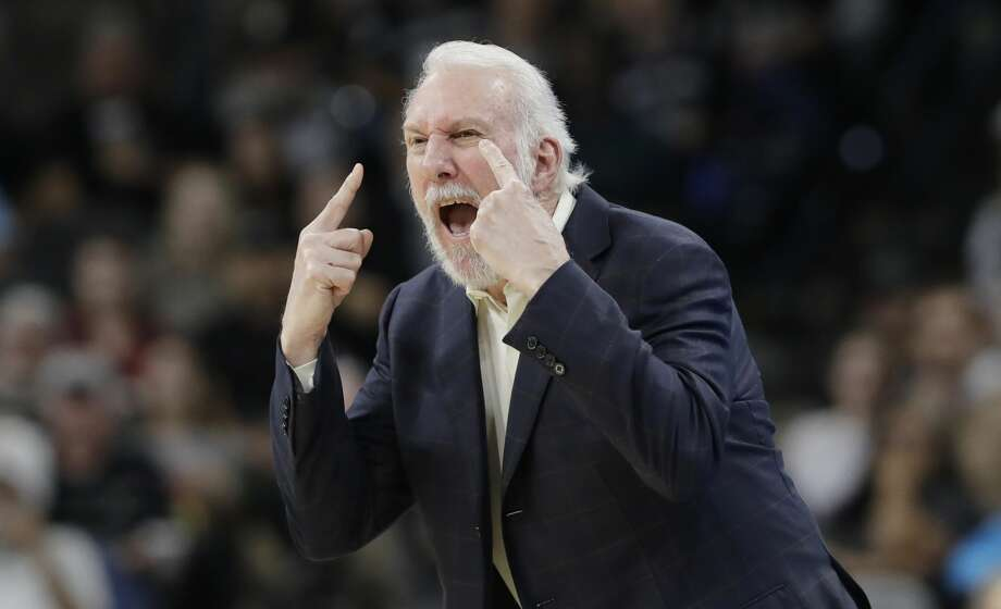San Antonio Spurs head coach Gregg Popovich argues a call with an official during the first half of an NBA basketball game against the Dallas Mavericks, Monday, Nov. 27, 2017, in San Antonio. Popovich was ejected from the game. (AP Photo/Eric Gay) Photo: Eric Gay/Associated Press