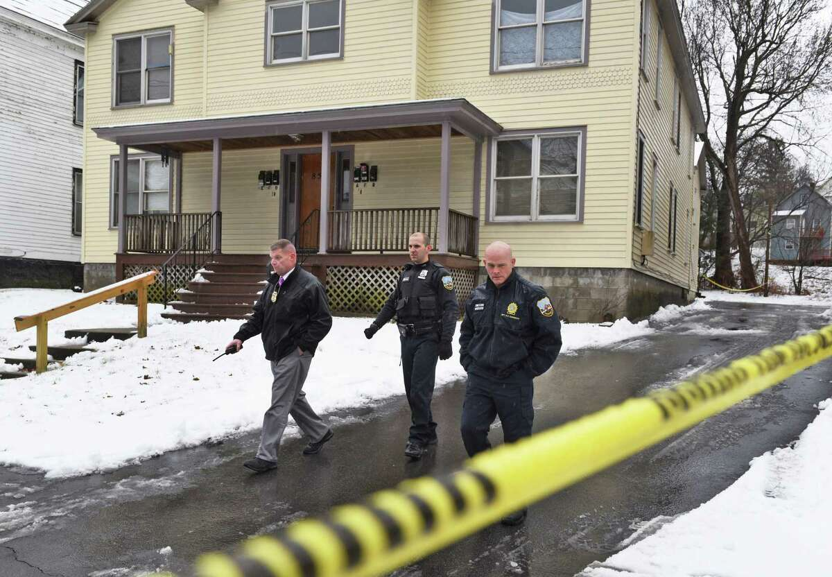 Police on the scene of a shooting at 856 Union Street Tuesday afternoon, Jan. 24, 2017, in Schenectady, N.Y. A 52-year-old man was shot in the arm and treated for non-life threatening injuries. (John Carl D'Annibale / Times Union archive)