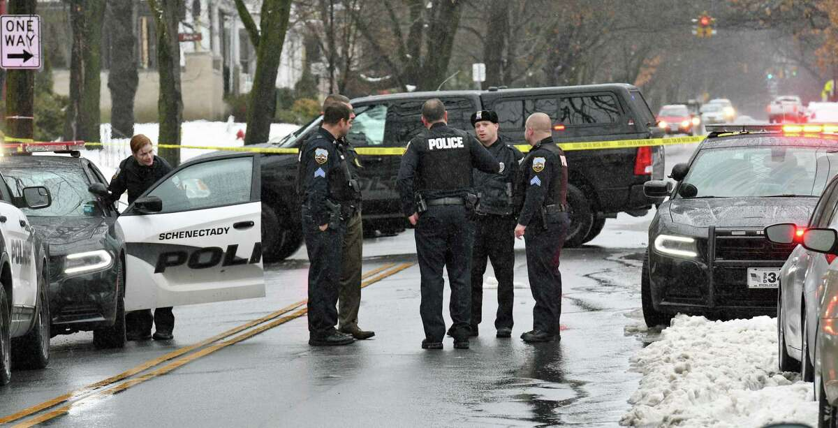 Police on the scene of a shooting at 856 Union Street on Tuesday afternoon, Jan. 24, 2017, in Schenectady, N.Y. A 52-year-old man was shot in the arm and treated for non-life threatening injuries. (John Carl D'Annibale / Times Union archive)