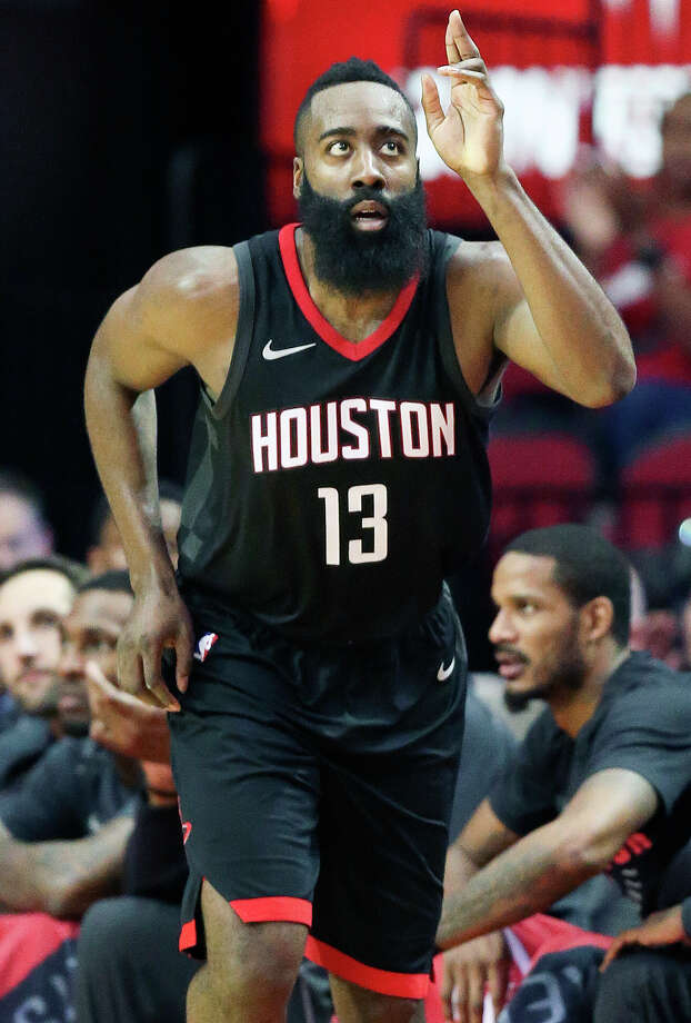 Houston Rockets guard James Harden reacts after making a 3-point basket during the second half of an NBA basketball game against the Brooklyn Nets, Monday, Nov. 27, 2017, in Houston. Houston won the game 117-103. (AP Photo/Eric Christian Smith) Photo: Eric Christian Smith/Associated Press
