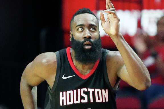 Houston Rockets guard James Harden reacts after making a 3-point basket during the second half of an NBA basketball game against the Brooklyn Nets, Monday, Nov. 27, 2017, in Houston. Houston won the game 117-103. (AP Photo/Eric Christian Smith)