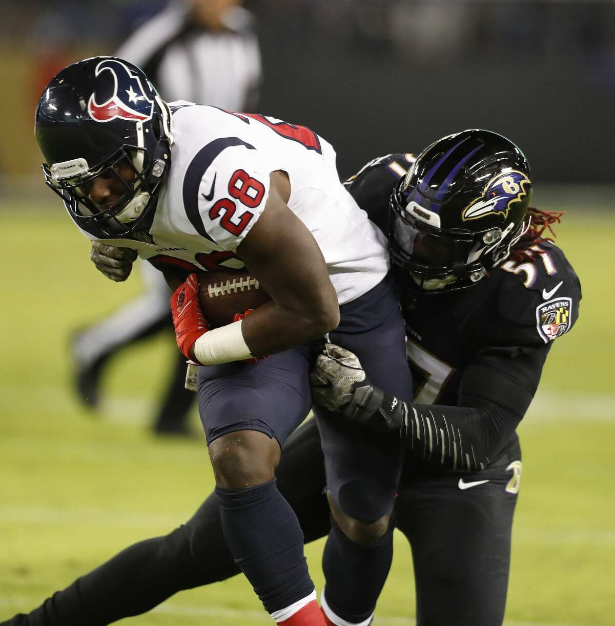 Texans running back Alfred Blue (28) remains in concussion protocol and is not likely to play Sunday against the 49ers.