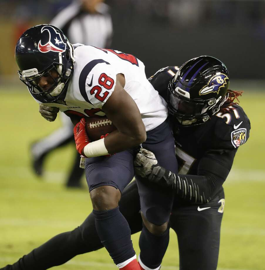 Texans running back Alfred Blue (28) remains in concussion protocol and is not likely to play Sunday against the 49ers. Photo: Brett Coomer/Houston Chronicle