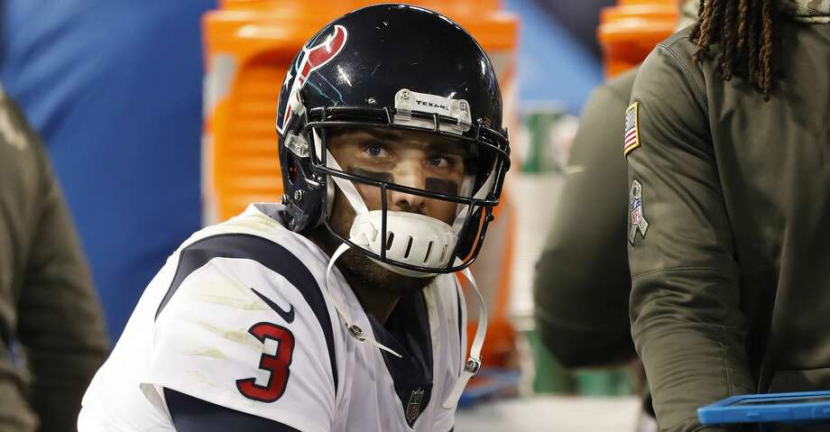 Houston Texans quarterback Tom Savage (3) reacts on the bench during the fourth quarter of an NFL football game at M & T Bank Stadium on Monday, Nov. 27, 2017, in Baltimore. ( Brett Coomer / Houston Chronicle ) Photo: Brett Coomer/Houston Chronicle