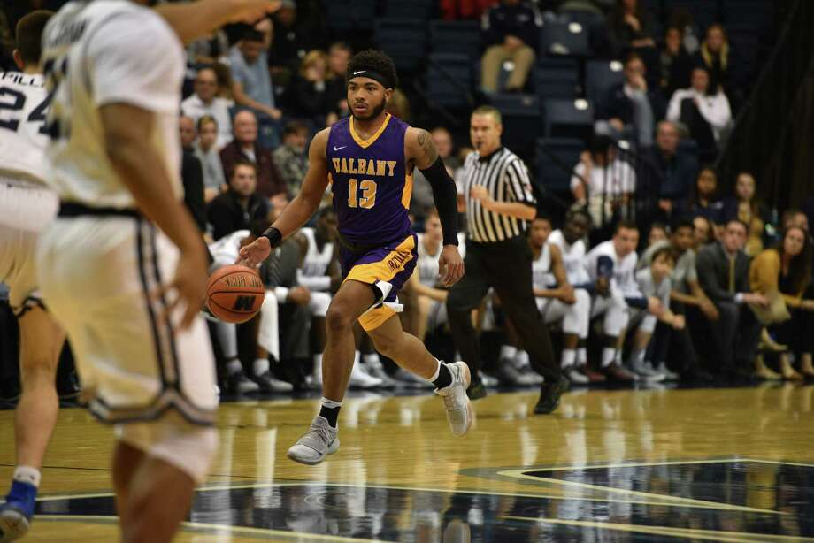 UAlbany's David Nichols plays against Monmouth University in West Long Branch, N.J., on Monday, November 27, 2017. (Karlee Sell / Monmouth University)