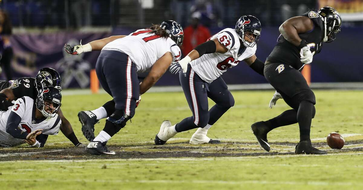 Houston Texans quarterback Tom Savage (3) watches as his fumble rolls away during the fourth quarter of an NFL football game at M & T Bank Stadium on Monday, Nov. 27, 2017, in Baltimore. ( Brett Coomer / Houston Chronicle )