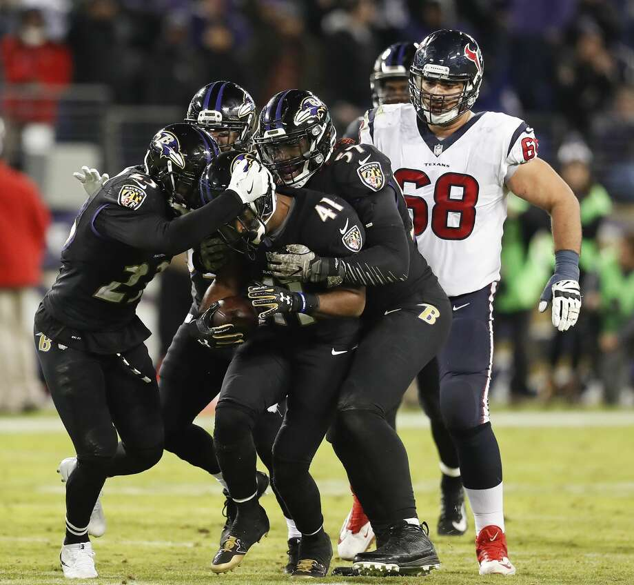 Baltimore Ravens cornerback Anthony Levine (41) celebrates his interception with teammates during the fourth quarter of an NFL football game at M & T Bank Stadium on Monday, Nov. 27, 2017, in Baltimore. ( Brett Coomer / Houston Chronicle ) Photo: Brett Coomer/Houston Chronicle