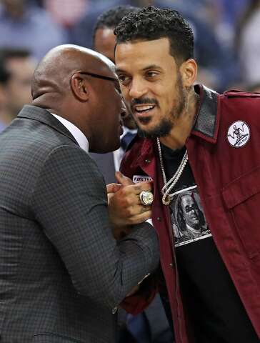 9b07572f684 Former Golden State Warrior Matt Barnes is greeted by Mike Brown after  Barnes received his 2016