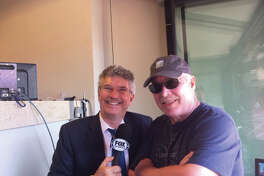 Jack Klobnak, right, with Tampa Rays announcer Dewayne Staats.