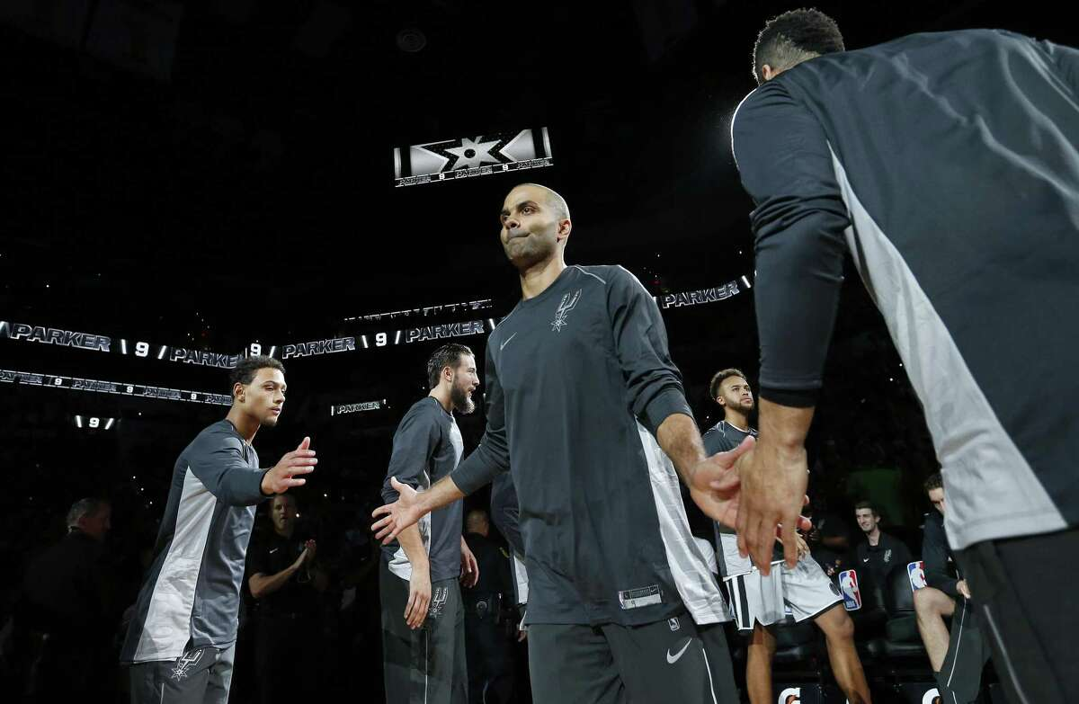 San Antonio Spurs' Tony Parker is introduced before the game with the Dallas Mavericks Monday Nov. 27, 2017 at the AT&T Center.