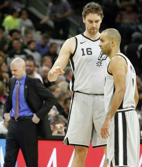 San Antonio Spurs' Pau Gasol and Tony Parker talk after a basket during first half action against the Dallas Mavericks Monday Nov. 27, 2017 at the AT&T Center. Photo: Edward A. Ornelas, Staff / San Antonio Express-News / © 2017 San Antonio Express-News