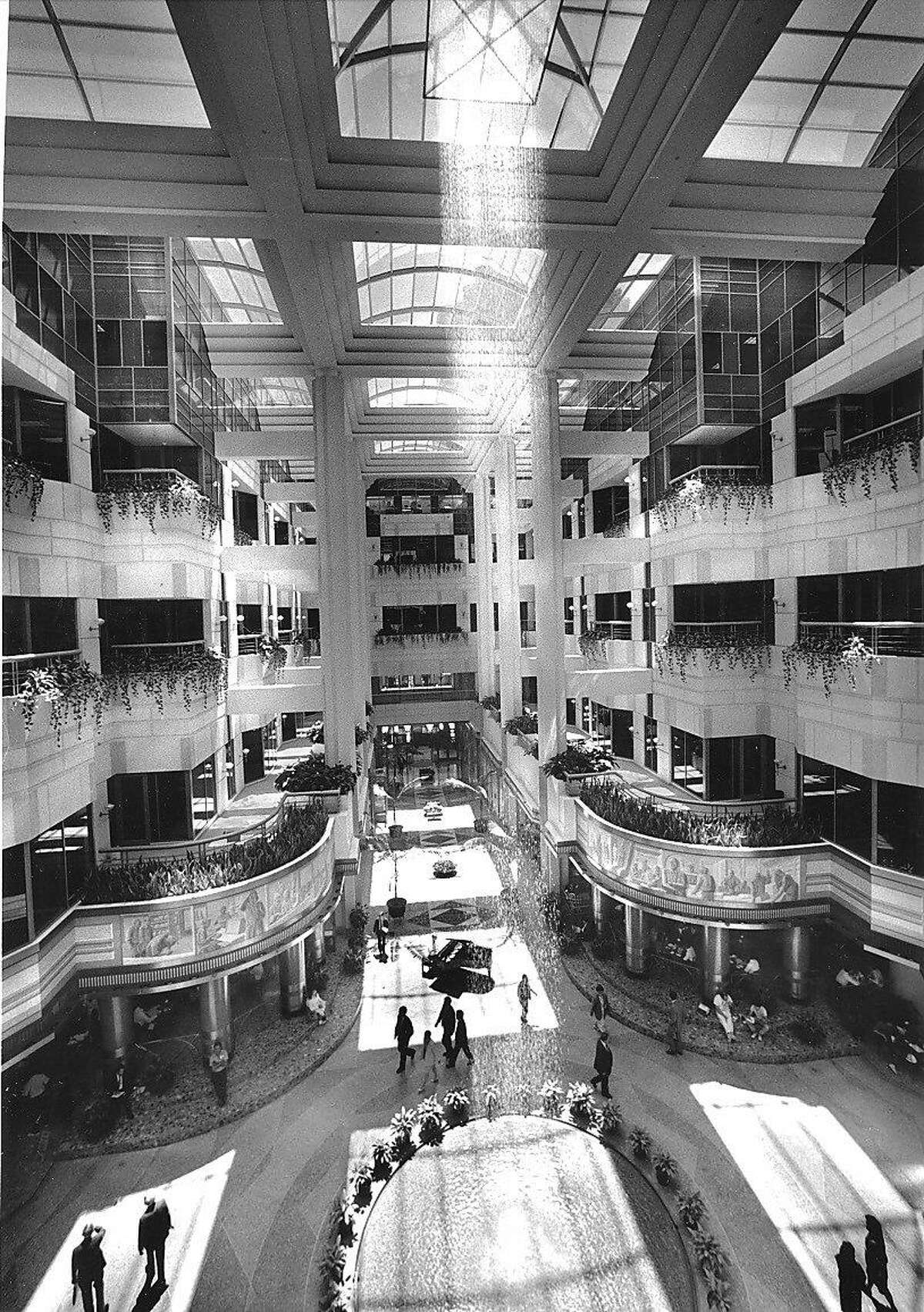 A fountain sprinkles water at the Rincon Center atrium in May 1989.