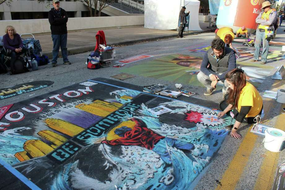 Samthel Hempel of Katy joined in the fun at the Houston Via Colori Street Painting Festival on Nov. 19-20 in downtown Houston. Photo: Kristi Nix / Houston Chronicle