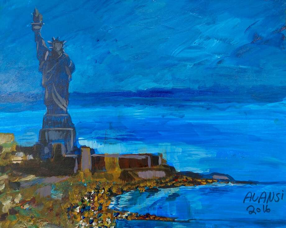 A painting by Muhammad Ahmad Abdallah al Ansi, a former prisoner at Guantnamo Bay, is now being exhibited at the John Jay College of Criminal Justice in Manhattan. Photo: MUHAMMAD ANSI, VIA JOHN JAY COLLEGE OF CRIMINAL JUSTICE, NYT