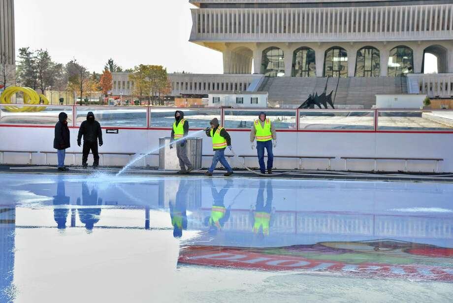 Empire state plaza ice skating rink taking shape in albany for Plaza motors albany ny