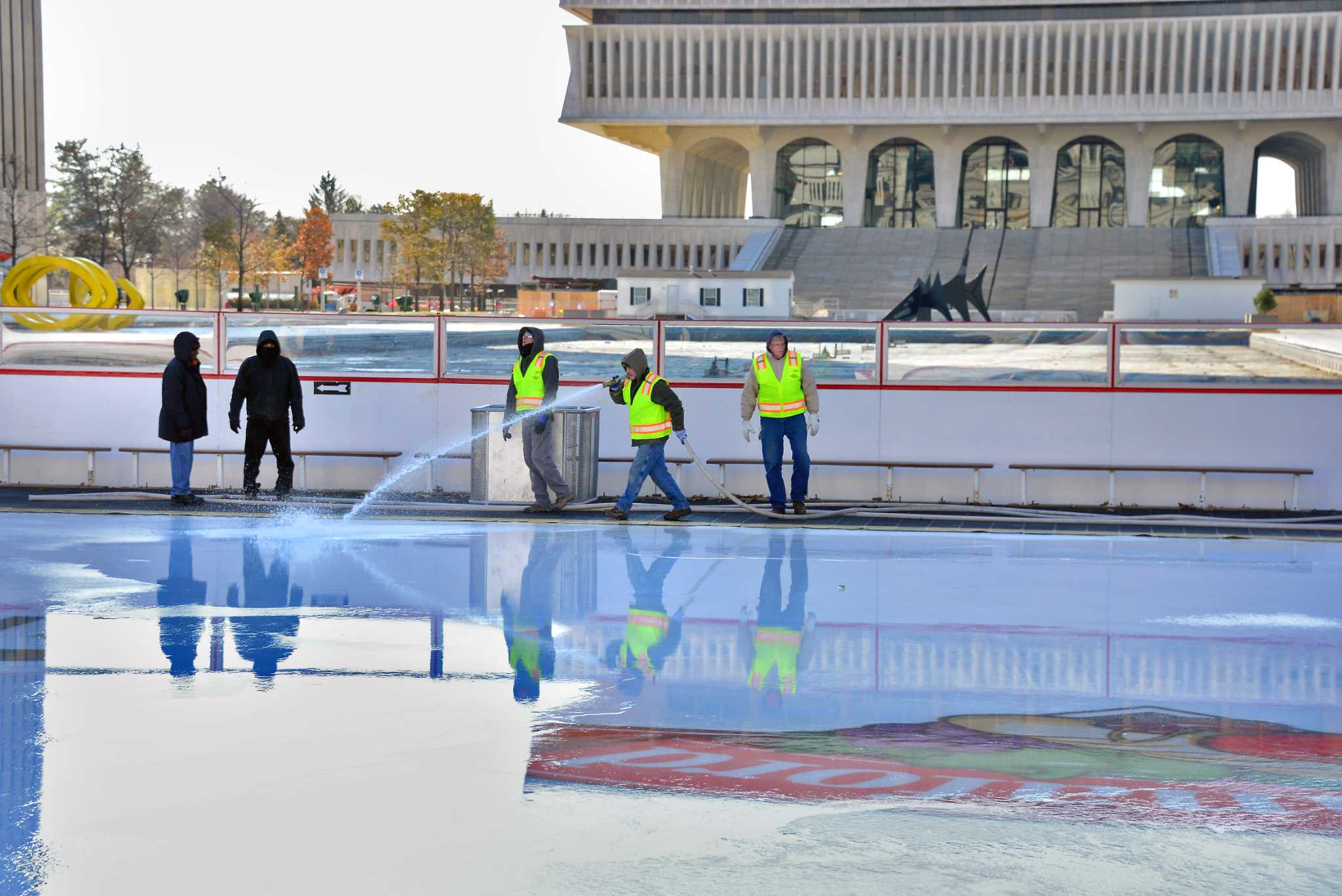 Empire State Plaza Ice Skating Rink Taking Shape In Albany