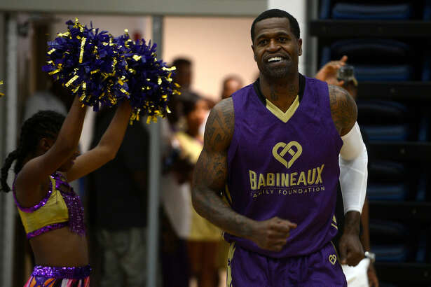 Retired NBA player Stephen Jackson is introduced before the Babineaux Family Foundation's Celebrity All-Star Classic basketball game on Saturday. Photo taken Saturday 7/9/16 Ryan Pelham/The Enterprise