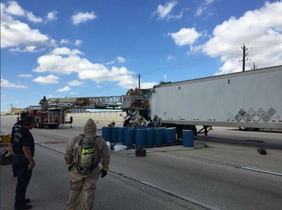 An 18-wheeler carrying sulfuric acid crashed Tuesday on Interstate 10, shutting down westbound lanes of the highway for hours. The truck had to be offloaded because its load had shifted in the wreck.