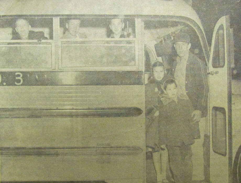 Here are a few of the more than 90 Auburn boys and girls who are transported monthly to a local roller rink as part of a winter recreational project of the Auburn School PTA. Students from public and parochial schools participate in the project. January 1957 Photo: Daily News File Photo