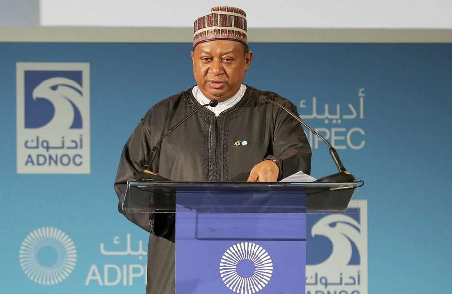 Secretary General of OPEC, Nigerian Mohammed Barkindo, speaks during the Abu Dhabi International Petroleum Exhibion and Conference on November 13, 2017, at the Abu Dhabi National Exhibition Centre. OPEC and Russia concur on two things: their oil production cuts are working and they should be extended deeper into next year. What's proving more elusive is an accord on when and how to end the curbs. Photo: KARIM SAHIB /AFP /Getty Images / AFP or licensors