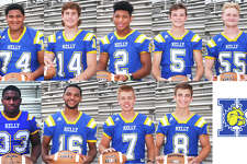 Nine members of theMonsignor Kelly Catholic High School football team received TAPPS All-District honors following the Bulldogs' season, the school announced Tuesday. (Photo provided by MKCHS)