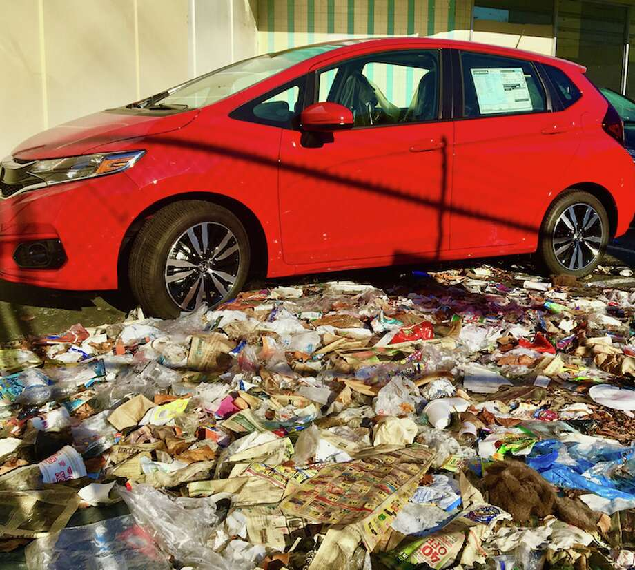 A Honda Fit is parked in the San Francisco Honda lot on Sixteenth Street in the