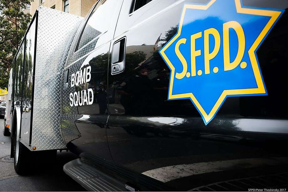 A suspicious package left in the middle of the roadway early Wednesday  shut down San Francisco streets as authorities investigated the scene. Photo: SFPD / San Francisco Police Department