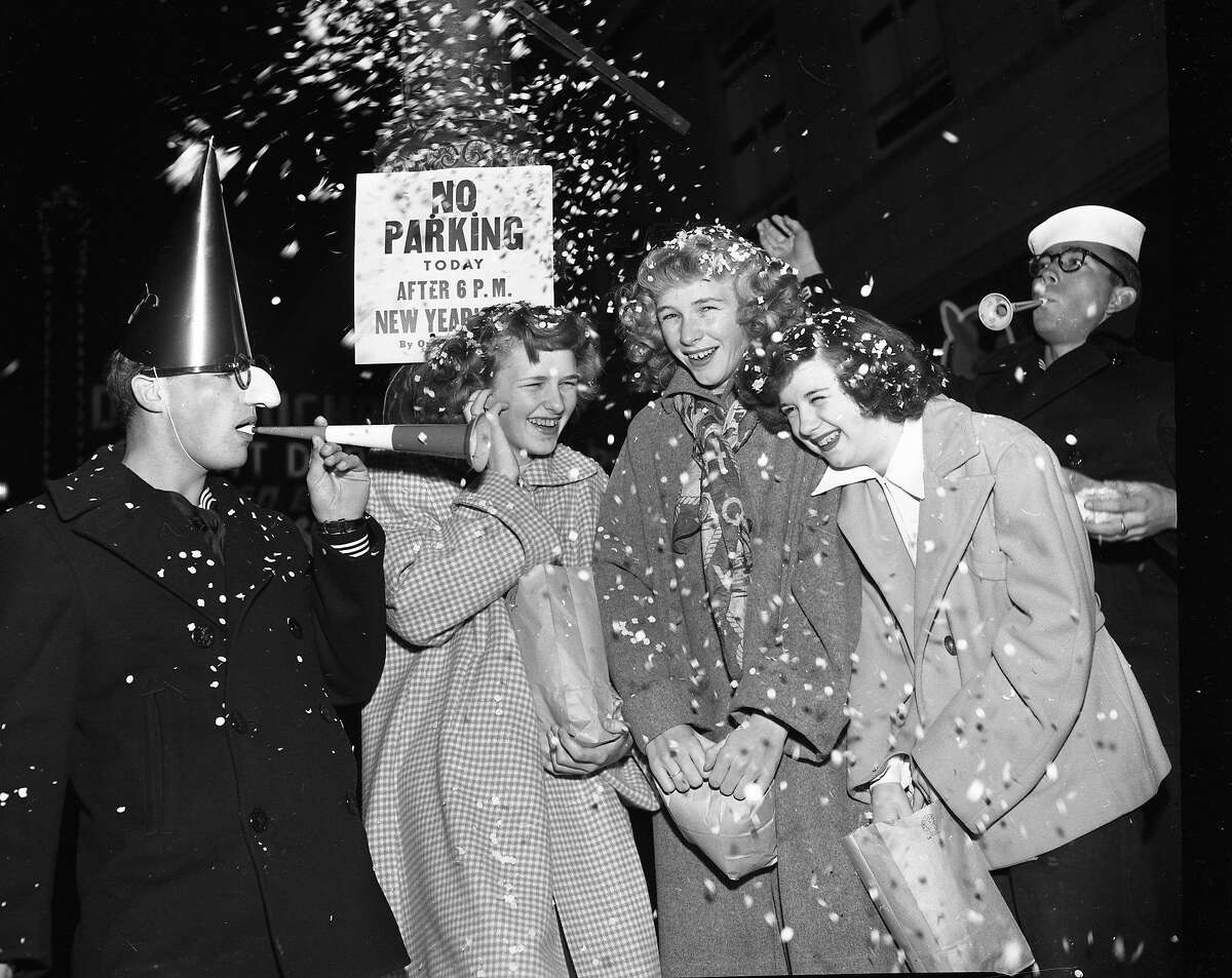 The confetti flies at New Year's Eve celebrations on Market Street in San Francisco, December 31, 1952