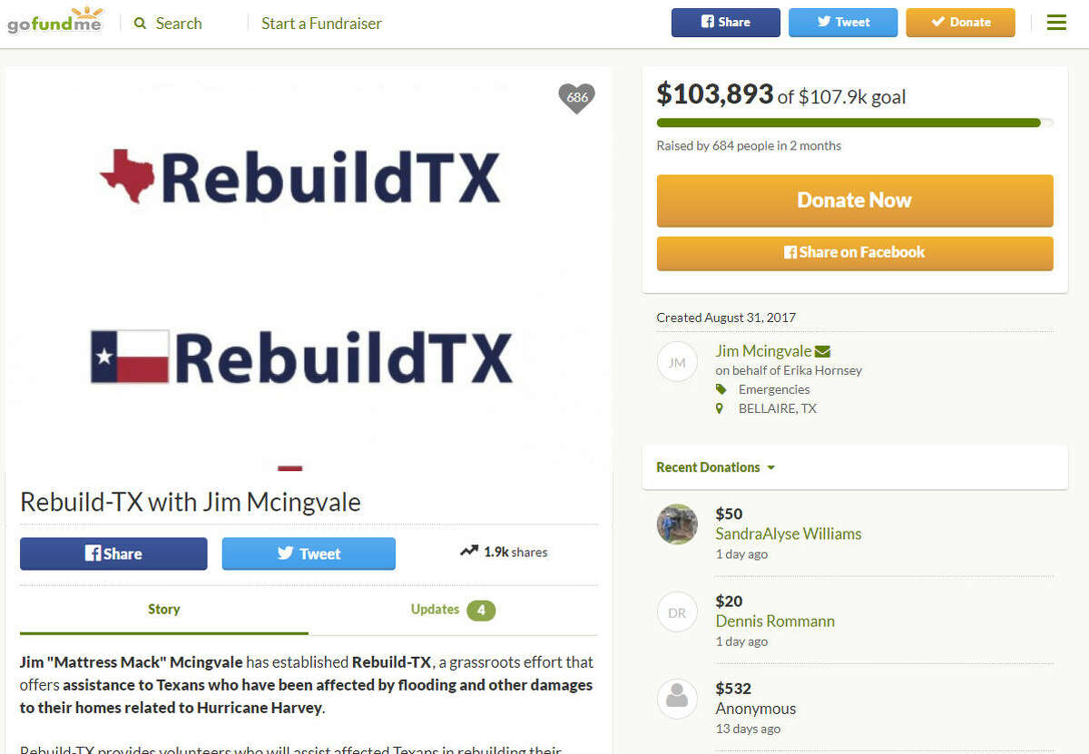 Rebuild-TX with Jim Mcingvale Amount raised: $103,893