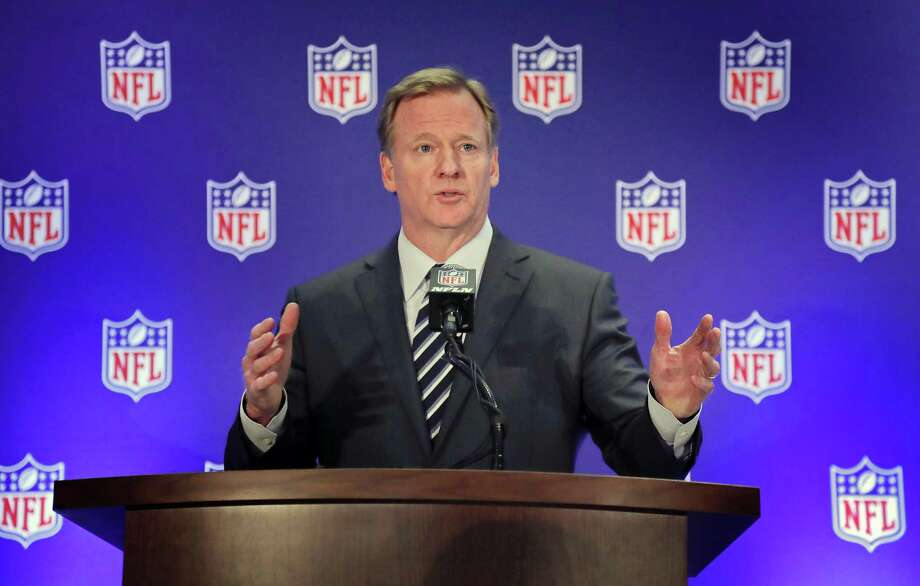 FILE - In this Oct. 18, 2017, file photo, NFL commissioner Roger Goodell speaks during a news conference, in New York. As the Supreme Court prepares to hear a challenge to the federal ban on sports betting, U.S. sports leagues are hedging their bets. The leagues are fighting the case in court, but leaders of the NBA, the NHL and Major League Baseball have said publicly that theyre open to sports betting being legalized. Theyre preparing for a future of expanded gambling and hoping to have a say in how legalization takes effect. Only the NFL has remained steadfast in its opposition, a stance that critics see as hypocritical. Photo: Julie Jacobson /Associated Press / Copyright 2017 The Associated Press. All rights reserved.