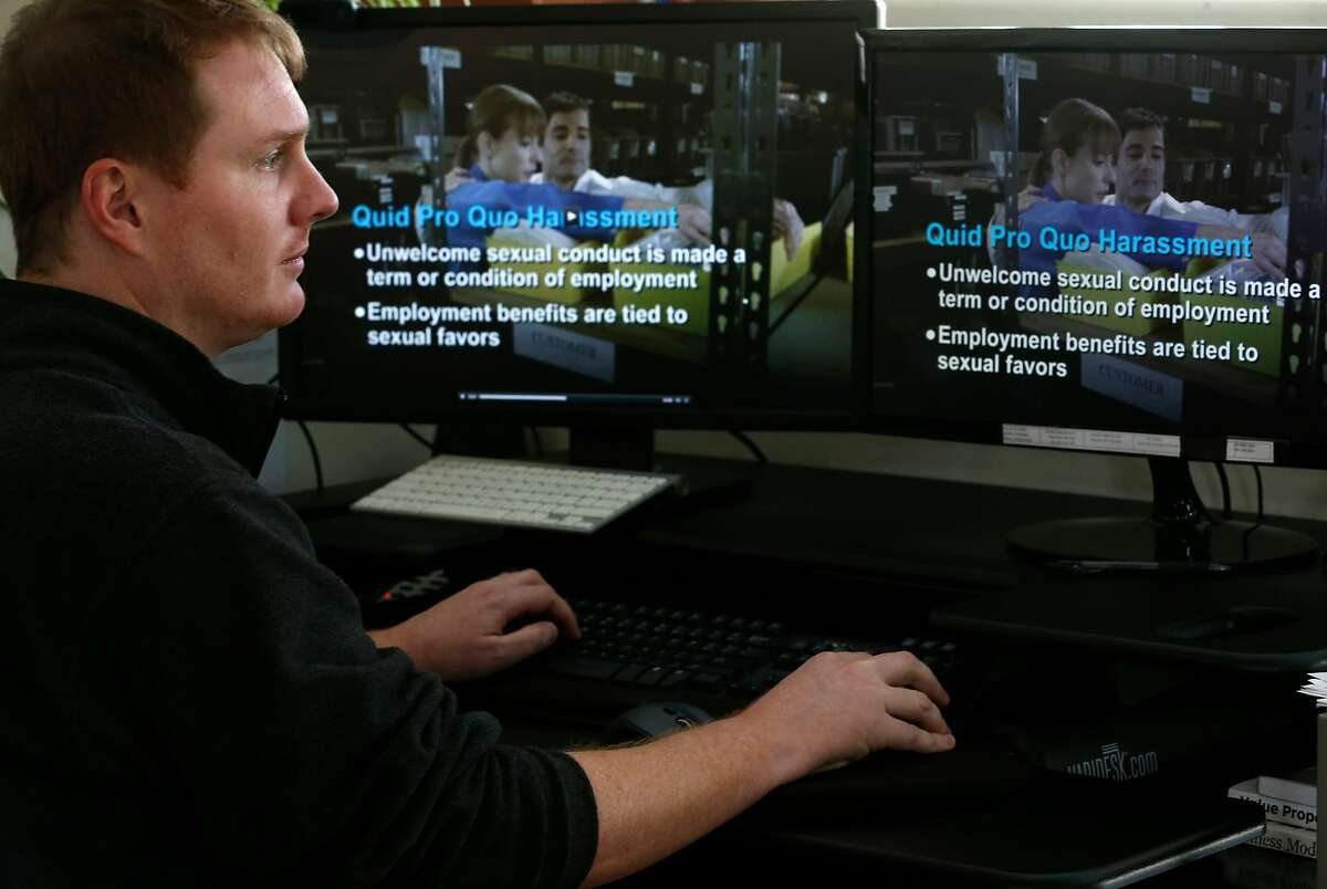 Kantola Productions editor Evan Rice works on a training video on sexual harassment in the workplace at his office in Mill Valley, Calif. on Tuesday, Nov. 28, 2017. Kantola produces a number of training videos for the workplace.