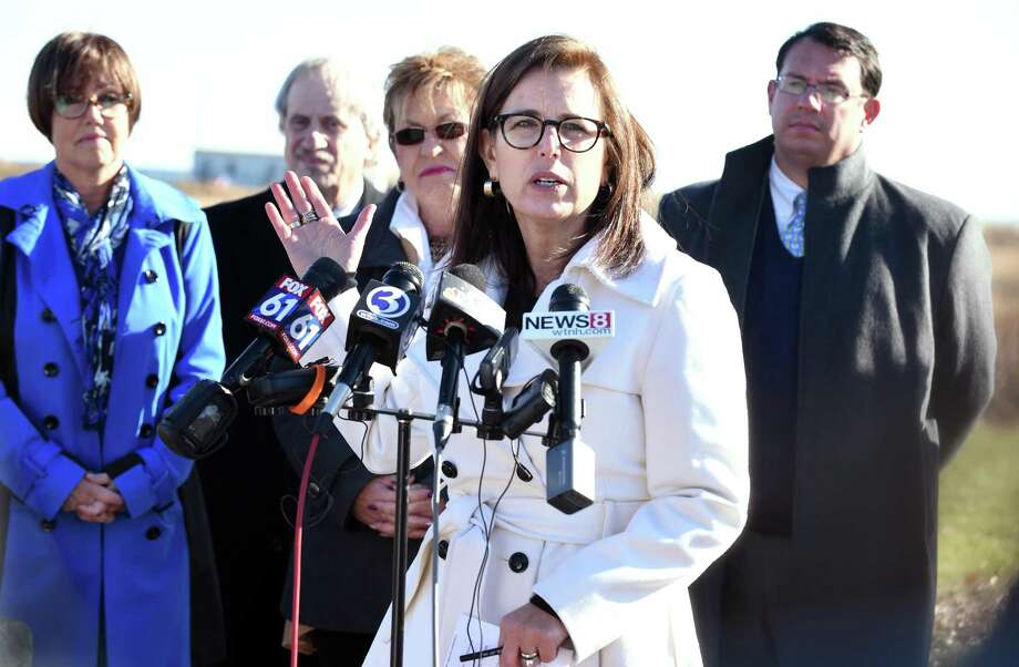State Senator Gayle Slossberg speaks at a press conference at Silver Sands Beach State Park in Milford against bonding for construction of a bath house building, lifeguard and staff office, concession building and a maintenance facility at the park on November 28, 2017. Photo: Arnold Gold / Hearst Connecticut Media / New Haven Register