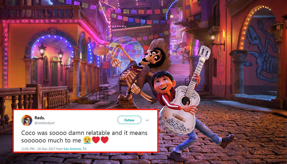 San Antonians have been flocking to movie theaters since 'Coco,' the Día de Los Muertos-themed film, was released, and it's making people bawl their eyes out. See some of the reactions San Antonio residents had after seeing the movie. Photo: Pixar/Associated Press And Screengrab From Twitter