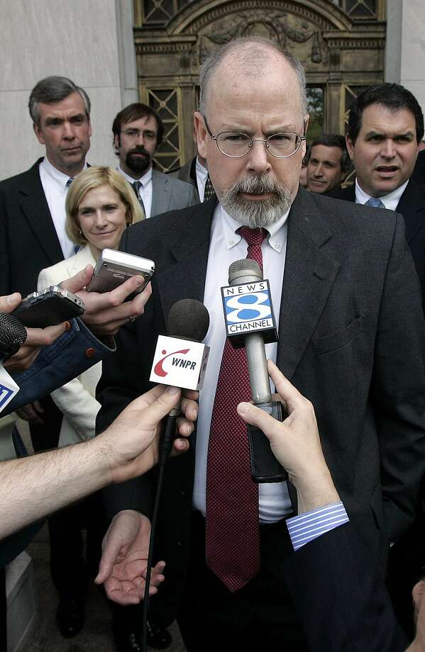 John Durham, a federal prosecutor in Connecticut, speaks to reporters on the steps of U.S. District Court in New Haven, Conn. in this April 25, 2006 file photo. Durham has been chosen by Attorney General Michael Mukasey to oversee the destruction of CIA interrogation videotapes case. (AP Photo/Bob Child, File) Photo: Bob Child, AP