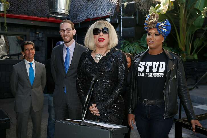 Left to right--Mark Leno, senator Scott Wiener, Oasis host Heklina, and Honey Mahogany comment as  a bill that would  allow bars to stay open until 4am is reintroduced at San Francisco Eagle bar on Tuesday, November 28, 2017, in San Francisco, Calif.
