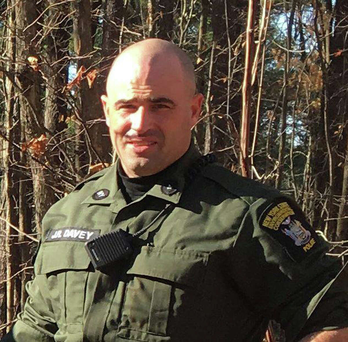 State Environmental Conservation Officer James Davey returned to work on Monday after being shot last November while investigating reports of illegal hunting activity in the Town of Gallatin in Columbia County. (NYS DEC)